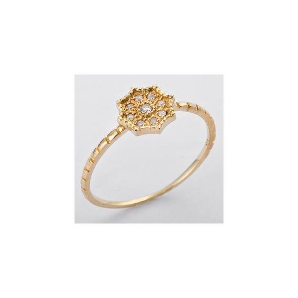 ds-1238525 K10イエローゴールド 天然ダイヤリング 指輪 ダイヤ0.06ct 10号 アンティーク調 フラワーモチーフ (ds1238525)