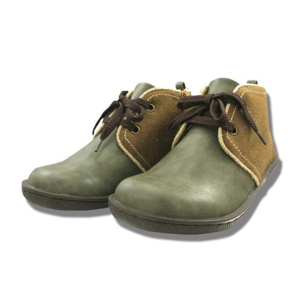 SHOE ZOO 異素材コンビ配色チャッカブーツ レディース シューズ 414002 ショートブーツ カジュアル コンフォート 婦人靴 おしゃれ