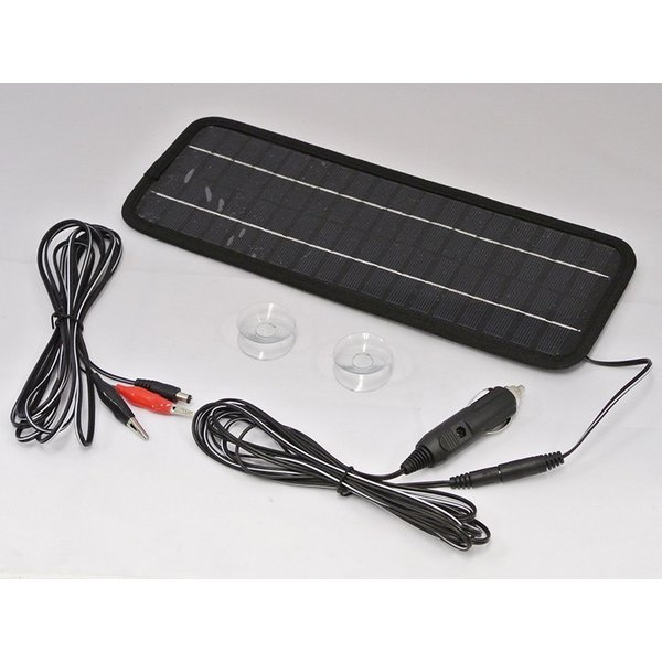 バッテリー上がり防止に ソーラーバッテリーチャージャー12V車用4.5W車ソーラー充電器LP-SO1000