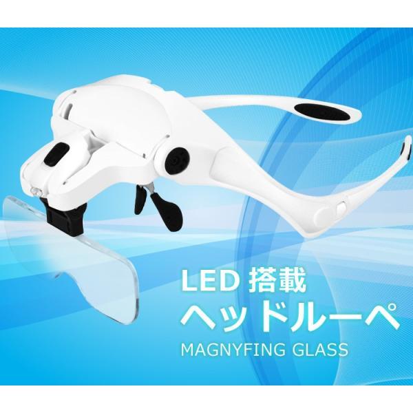 2LED付ヘッドルーペ メガネ式LED付拡大鏡 両手が使えて便利 ヘッドバンド・折り畳みフレーム両用 交換倍率角度調節 レンズ5枚付き  LP-SKI9892B
