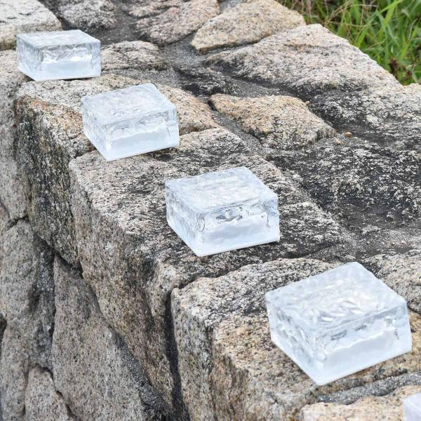 クーポンで5%OFF LED ガーデンソーラーライト 2個セット 5色 ソーラー充電式 センサー ウォールライトブロックライト ガラス 玄関 庭 防滴 照明 lifestyle-funfun 07