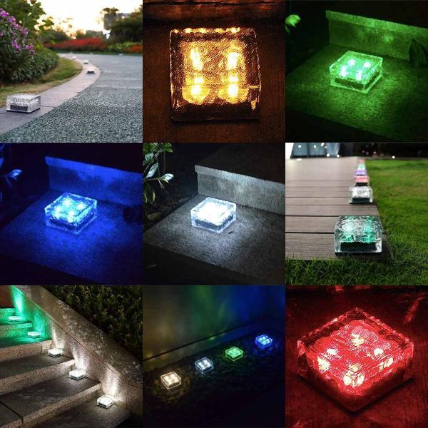 クーポンで5%OFF LED ガーデンソーラーライト 2個セット 5色 ソーラー充電式 センサー ウォールライトブロックライト ガラス 玄関 庭 防滴 照明 lifestyle-funfun 08