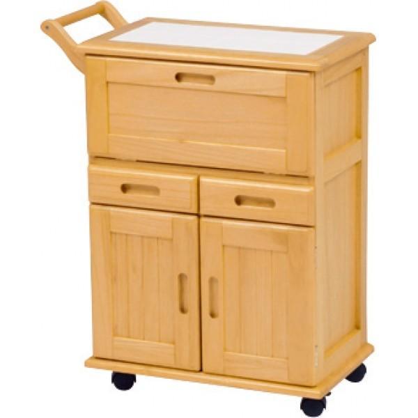 キャスター付きで移動も楽々なシンプルなキッチンワゴン。天板はタイル張りなので熱い鍋、やかんなどを直接置くことが可能です