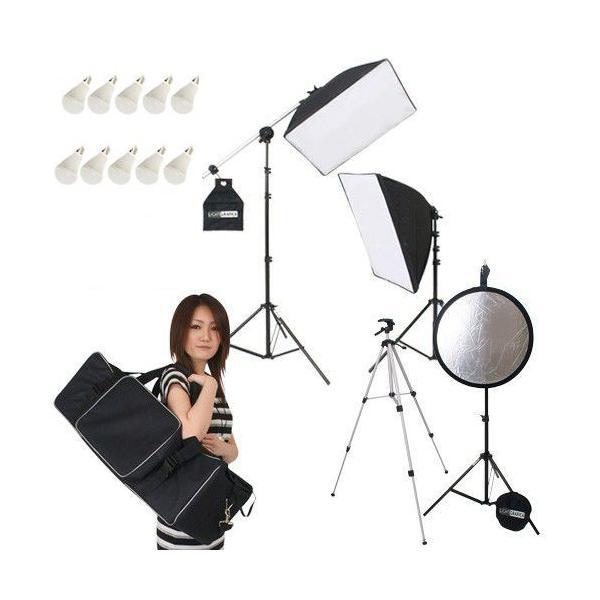 撮影機材 「すぐ撮る」ミディアムフルセット レフ板&三脚付 撮影用LED電球照明2灯セット