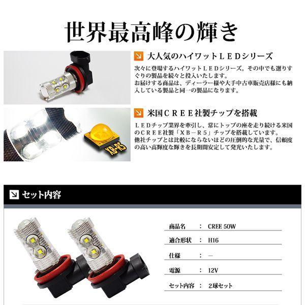 H16 LED フォグランプ / LED フォグライト CREE 50W ホワイト / 白 送料無料|lightning|03