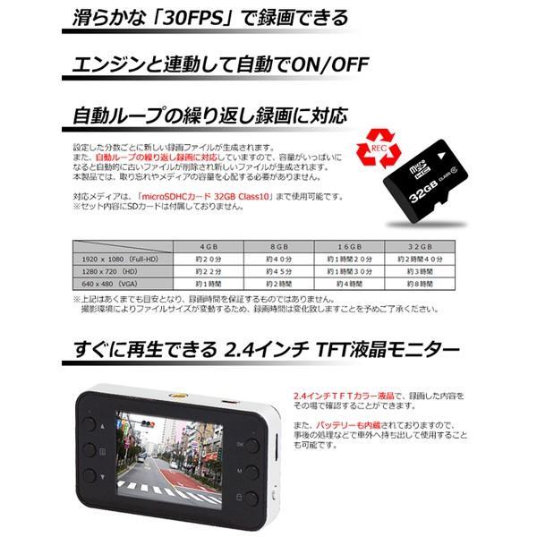 ドラレコ ドライブレコーダー 黒 超薄型 1080P フルHD 2.4インチ 液晶 FullHD lightning 03