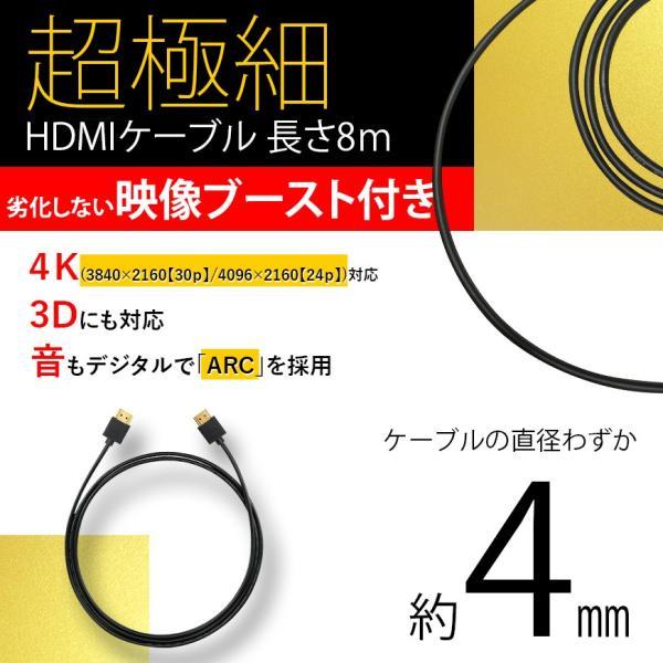 ブースト 機能 付き HDMIケーブル スーパーウルトラスリム 8m 800cm 極細 ケーブル直径約4mm 4K 任天堂switch PS4 XboxOne 送料無料|lightning|02