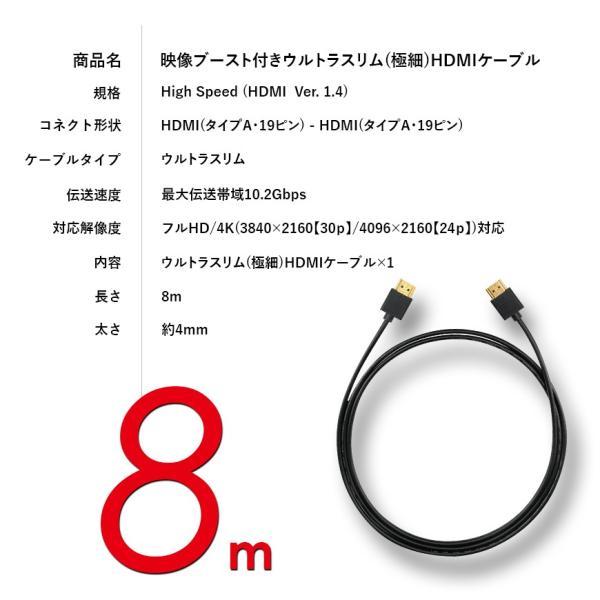ブースト 機能 付き HDMIケーブル スーパーウルトラスリム 8m 800cm 極細 ケーブル直径約4mm 4K 任天堂switch PS4 XboxOne 送料無料|lightning|05