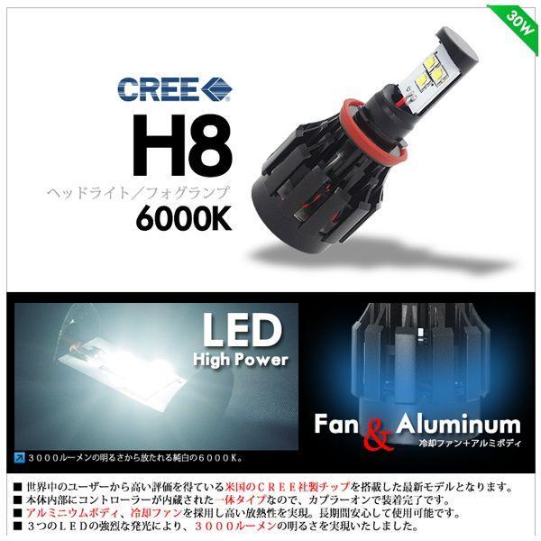 LED ヘッドライト / LED フォグランプ H8 CREE チップ 6000K / 3000LM|lightning|02