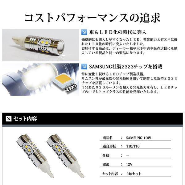T10 / T16 LED ポジション / バックランプ 10W ウェッジ球 ホワイト / 白 SAMSUNG|lightning|03