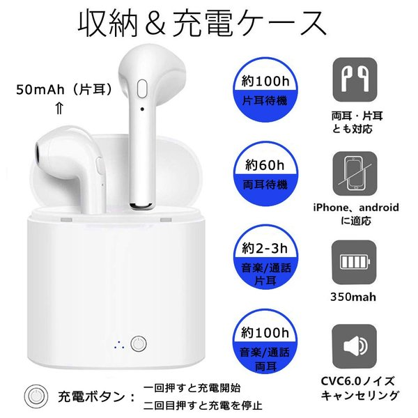 Bluetooth イヤホン 高音質 完全 ワイヤレス IPX5防水 マイク付き ミニ ハンズフリー通話 ノイズキャンセリング 充電式収納ケース iPhone & Android対応|lillian|02