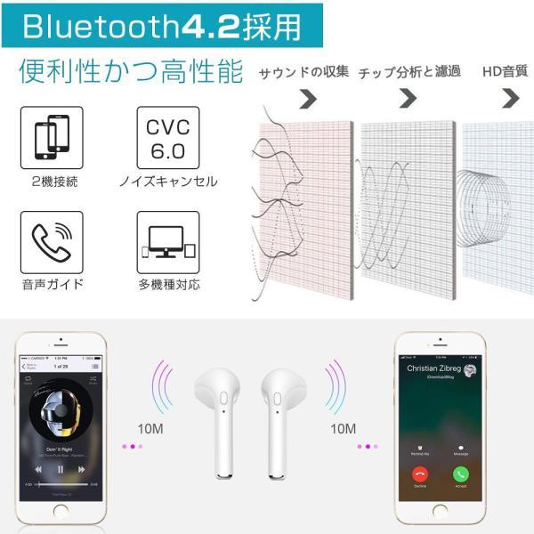Bluetooth イヤホン 高音質 完全 ワイヤレス IPX5防水 マイク付き ミニ ハンズフリー通話 ノイズキャンセリング 充電式収納ケース iPhone & Android対応|lillian|04