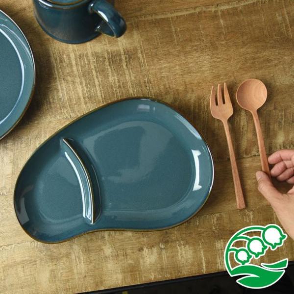 ランチプレート 仕切り 陶器 おしゃれ 北欧 洋食器 美濃焼 北欧ブルー おにぎり形 ランチプレート スズラン|lilly2016