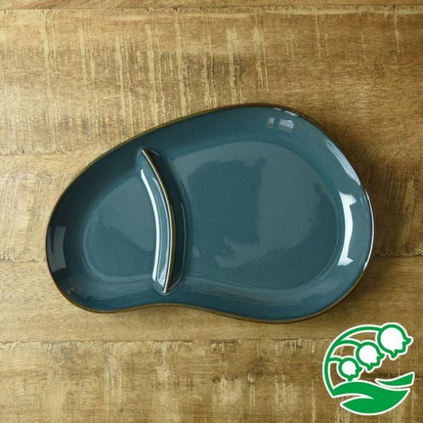 ランチプレート 仕切り 陶器 おしゃれ 北欧 洋食器 美濃焼 北欧ブルー おにぎり形 ランチプレート スズラン|lilly2016|03