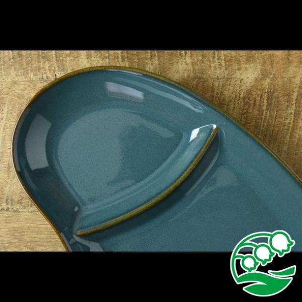 ランチプレート 仕切り 陶器 おしゃれ 北欧 洋食器 美濃焼 北欧ブルー おにぎり形 ランチプレート スズラン|lilly2016|04