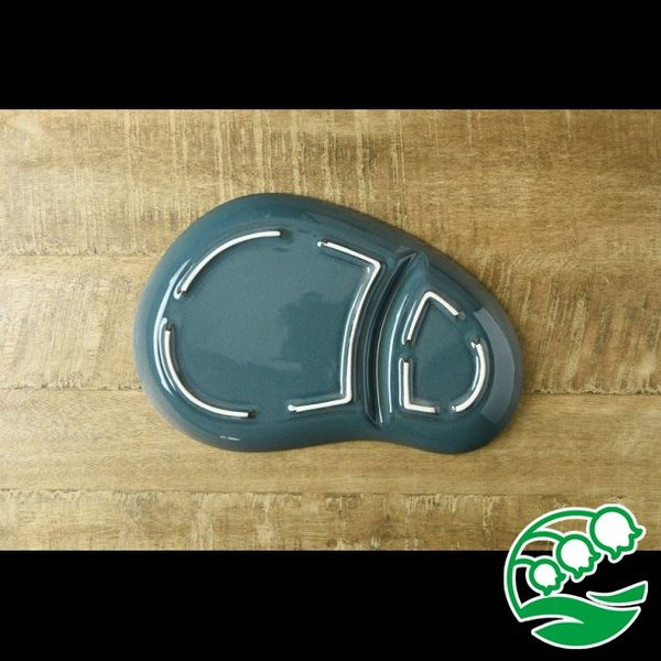 ランチプレート 仕切り 陶器 おしゃれ 北欧 洋食器 美濃焼 北欧ブルー おにぎり形 ランチプレート スズラン|lilly2016|05