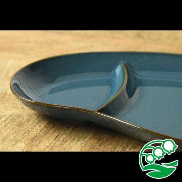 ランチプレート 仕切り 陶器 おしゃれ 北欧 洋食器 美濃焼 北欧ブルー おにぎり形 ランチプレート スズラン|lilly2016|06