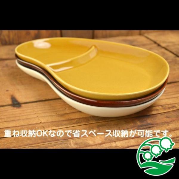 ランチプレート 仕切り 陶器 おしゃれ 北欧 洋食器 美濃焼 おにぎり形ランチプレート アイボリー スズラン|lilly2016|05