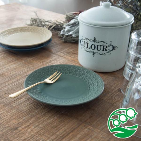 小皿 取り皿 おしゃれ 洋食器 美濃焼 プレス・ド・フラワー 16.5cmプレート マットグリーン スズラン|lilly2016