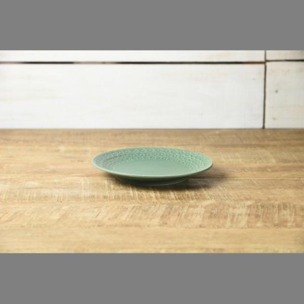 小皿 取り皿 おしゃれ 洋食器 美濃焼 プレス・ド・フラワー 16.5cmプレート マットグリーン スズラン|lilly2016|02