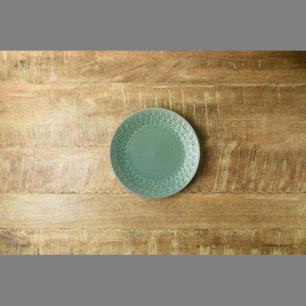 小皿 取り皿 おしゃれ 洋食器 美濃焼 プレス・ド・フラワー 16.5cmプレート マットグリーン スズラン|lilly2016|03