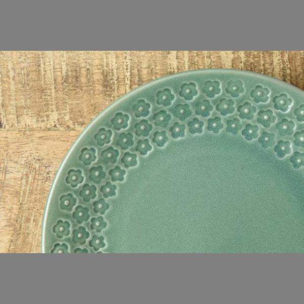 小皿 取り皿 おしゃれ 洋食器 美濃焼 プレス・ド・フラワー 16.5cmプレート マットグリーン スズラン|lilly2016|04