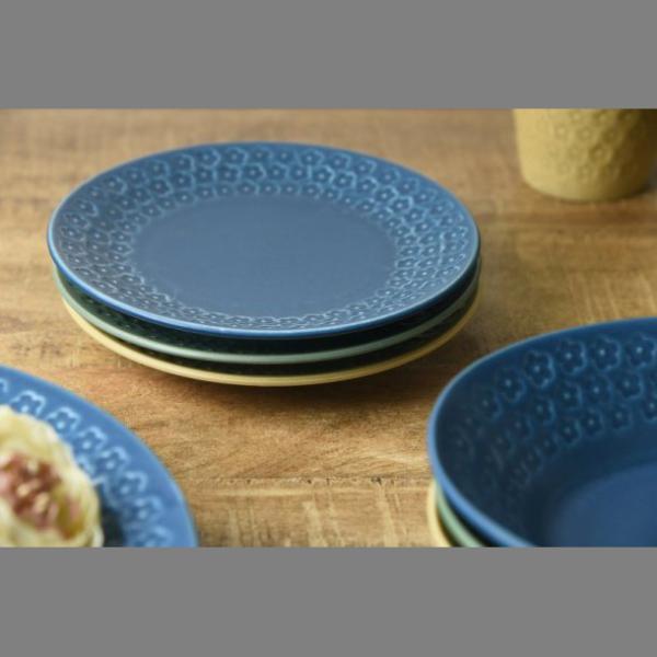 小皿 取り皿 おしゃれ 洋食器 美濃焼 プレス・ド・フラワー 16.5cmプレート マットグリーン スズラン|lilly2016|06