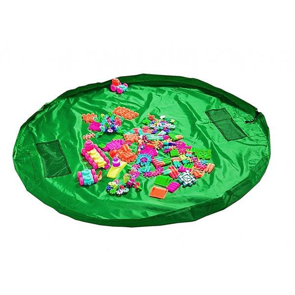 お片づけ おもちゃ プレイマット 収納袋 マット 150cm レゴ lego 収納 ( 緑 )|limedot|02