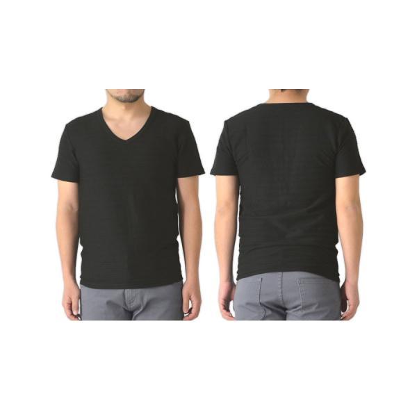 半袖 カットソー メンズ Vネック tシャツ タックボーダー オシャレ 無地 通販M15|limited|08