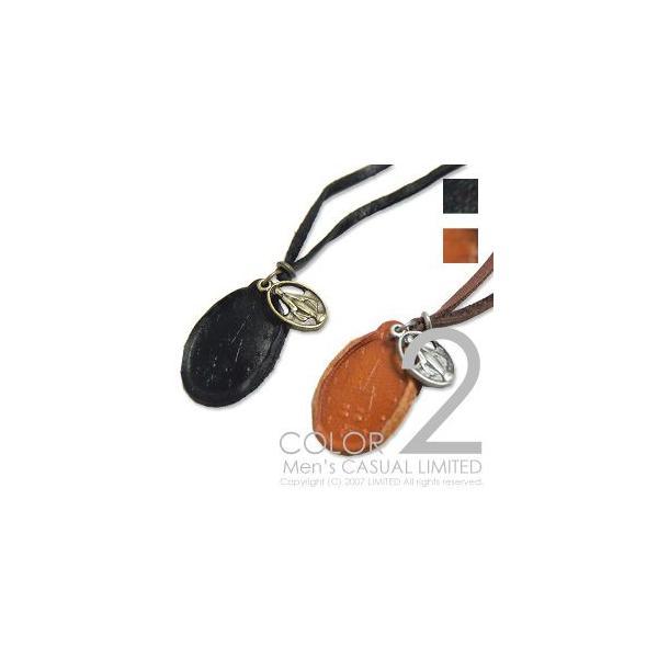 ハンドメイドレザースタンプネックレス メンズ レディース 通販M75|limited