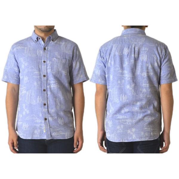 柄シャツ ボタンダウンシャツ 半袖 メンズ アロハシャツ ボタニカル フレンチリネン 麻 綿 通販M3 limited 08