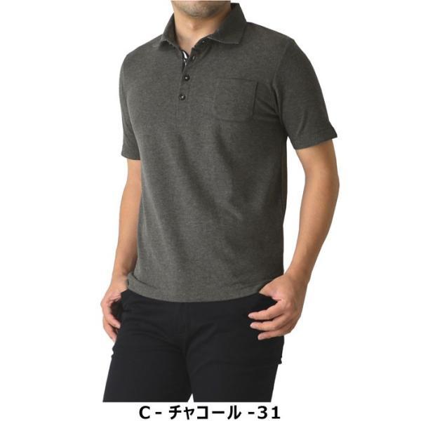 ポロシャツ メンズ 半袖 クールビズ デュエボットーニ カノコ ボーダー切替 通販M15|limited|04