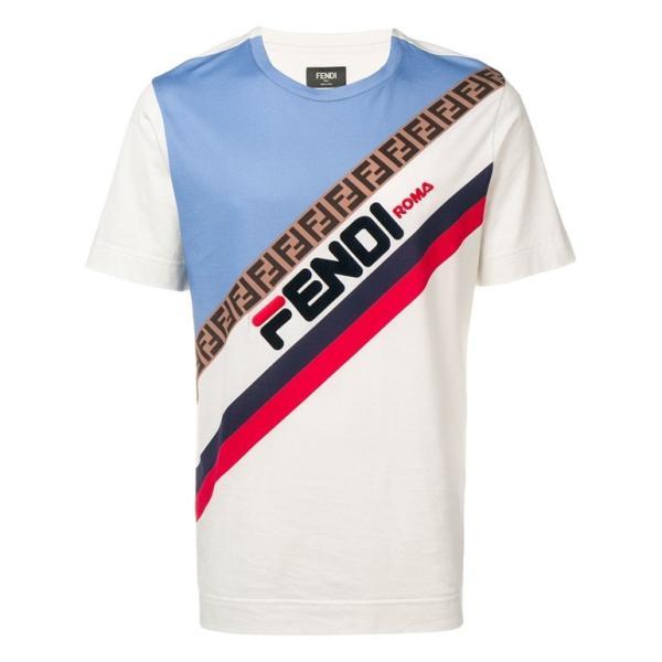 new style 6542d df08a フェンディ Tシャツ フェンディマニア フィラロゴデザイン メンズシャツ ダブルF FY0936 A65G F15IW FENDI