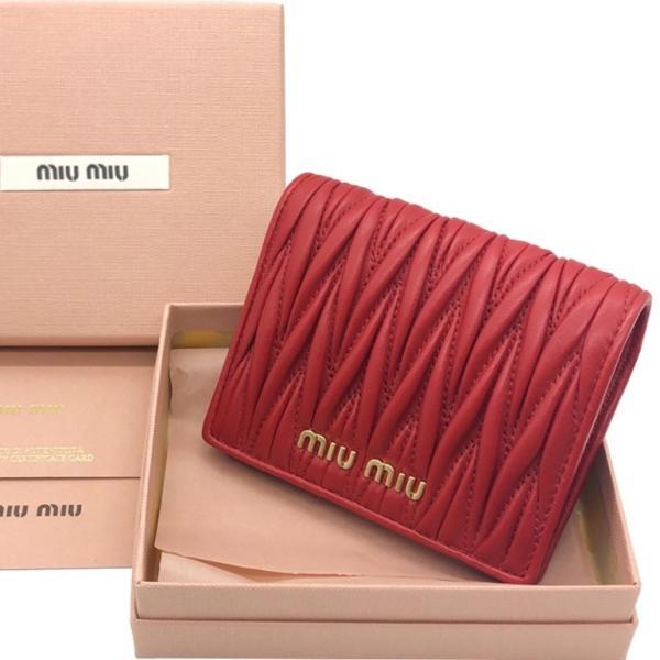 huge discount 9708f ee415 ミュウミュウ マトラッセ 二つ折り財布 MATELASSE leather wallet RED 5MV204N88F068Z Miu Miu