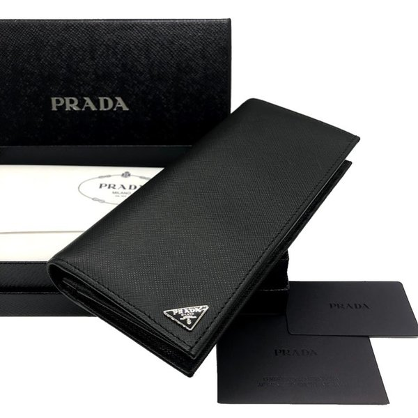 75c0ed145d9b ... プラダ サフィアーノ 三角ロゴ 二つ折り長財布 フラップウォレット ドキュメントケース 小銭入れ付き 2MV836