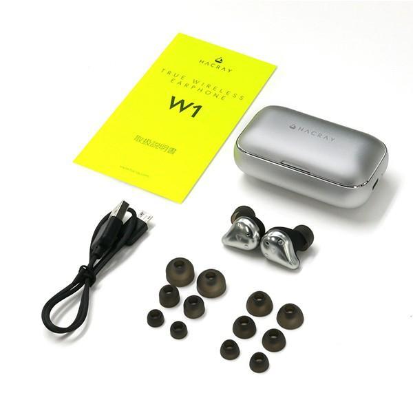 HACRAY ハクライ W1 完全ワイヤレスイヤホン シルバー|line-mobile|03