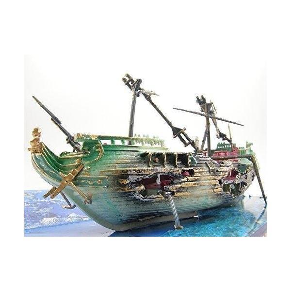 (R-Pet) 水槽 インテリア レイアウト ファンタジー 装飾 ファンタジー アクアリウム アクセサリー オブジェ 熱帯魚 鑑賞魚 オーナメント 模型 置き物 (沈没船 B)|lineshonpo