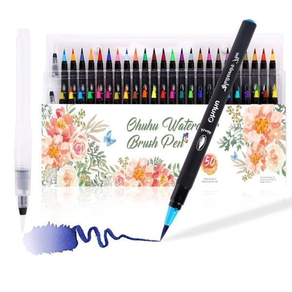 Ohuhu 水彩毛筆 48色セット 水性 水彩筆 筆ペン カラーペン 塗り絵 画筆 絵用 美術 学習教材 学校教材 画材 イラスト 宿題 収納ケース付き