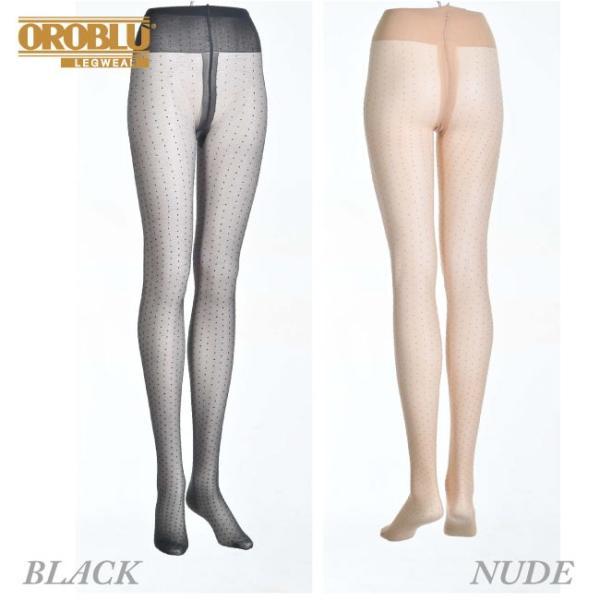 【OROBLU】(オロブル)  Adelle   インポートタイツ  20デニール 薄手ストッキング パンストオールスルー ストッキングオールスルー ドット模様 lingerie-felice 02