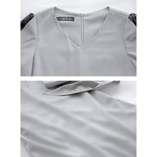 パーティードレス 結婚式 ワンピース スレンダーライン フォーマル[S M L XL]キャバ 袖あり 2次会 上品 同窓会 謝恩会 10代 du008|lingxiayuu|18