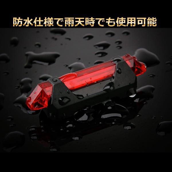 USB充電 自転車用 LEDテールランプ LEDヘッドライト バックライト 高輝度LED 防水 安全 事故防止 白 赤|linksonline|04