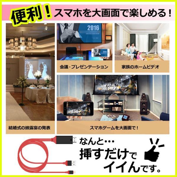 HDMI変換アダプタ Lightning HDMI iPhone iPad 対応 ライトニングケーブル スマホ 高解像度 ゲーム カーナビ 画像 動画 TV|linofle|02