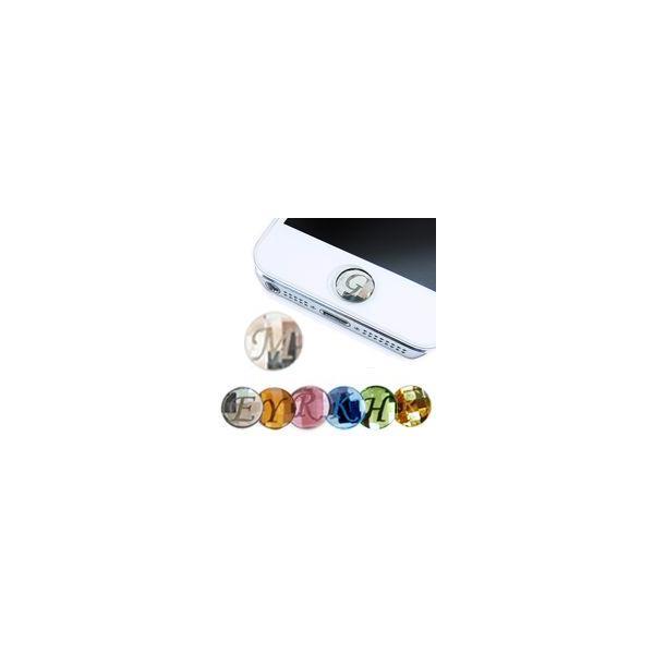 iPhone ホームボタンシール 選べるカラー・イニシャル スワロフスキー ステッカー シール|linomakana