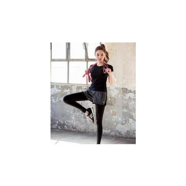 レディースフィットネスウェア上下セット半袖Tシャツとズボン トレーナー服 ジムウェア  ヨガウェア ジョギング スポーツウェア|lipton