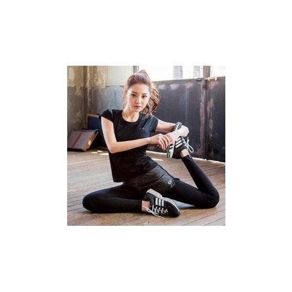 レディースフィットネスウェア上下セット半袖Tシャツとズボン トレーナー服 ジムウェア  ヨガウェア ジョギング スポーツウェア|lipton|02