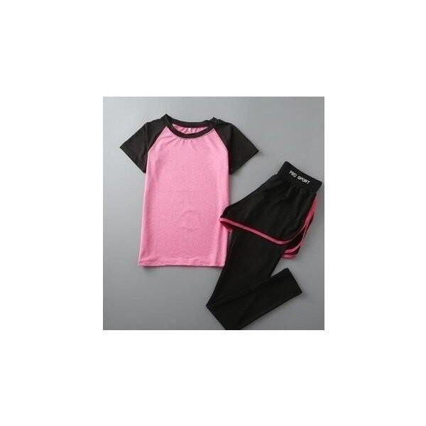 レディースフィットネスウェア上下セット半袖Tシャツとズボン トレーナー服 ジムウェア  ヨガウェア ジョギング スポーツウェア|lipton|03