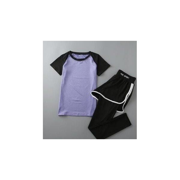 レディースフィットネスウェア上下セット半袖Tシャツとズボン トレーナー服 ジムウェア  ヨガウェア ジョギング スポーツウェア|lipton|04