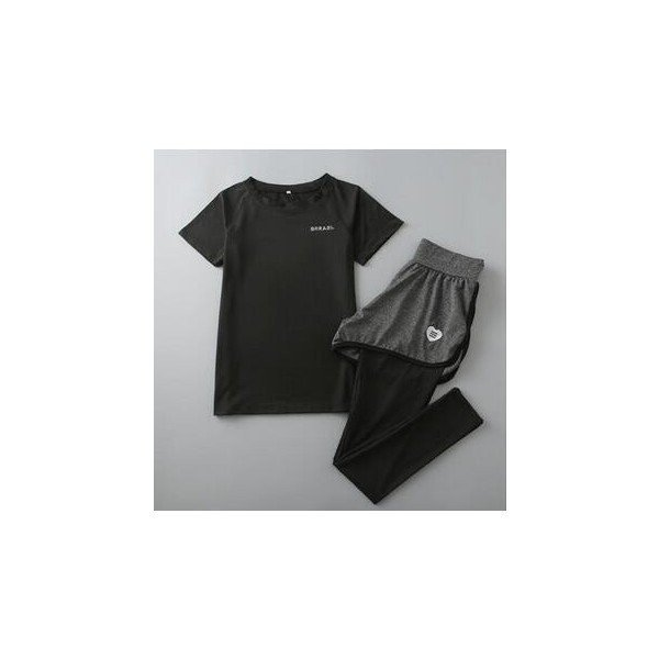 レディースフィットネスウェア上下セット半袖Tシャツとズボン トレーナー服 ジムウェア  ヨガウェア ジョギング スポーツウェア|lipton|05