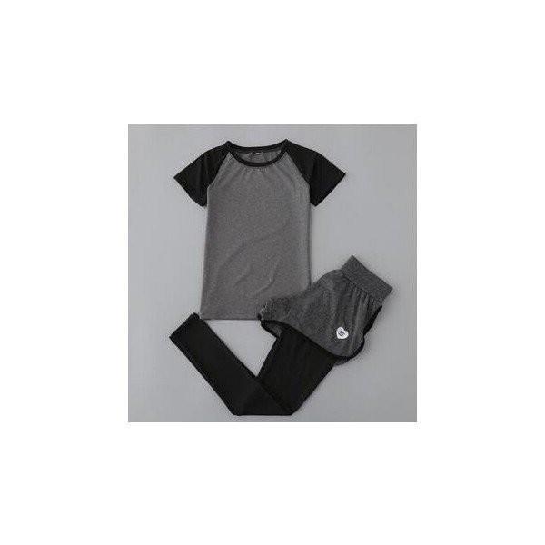 レディースフィットネスウェア上下セット半袖Tシャツとズボン トレーナー服 ジムウェア  ヨガウェア ジョギング スポーツウェア|lipton|06