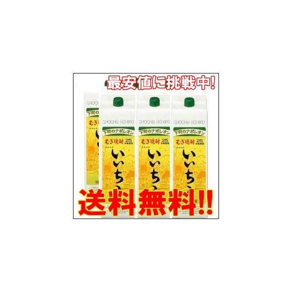 送料無料 いいちこ 25度 1.8L 1800ml パック 1ケース(6本入り) 麦焼酎 三和酒類